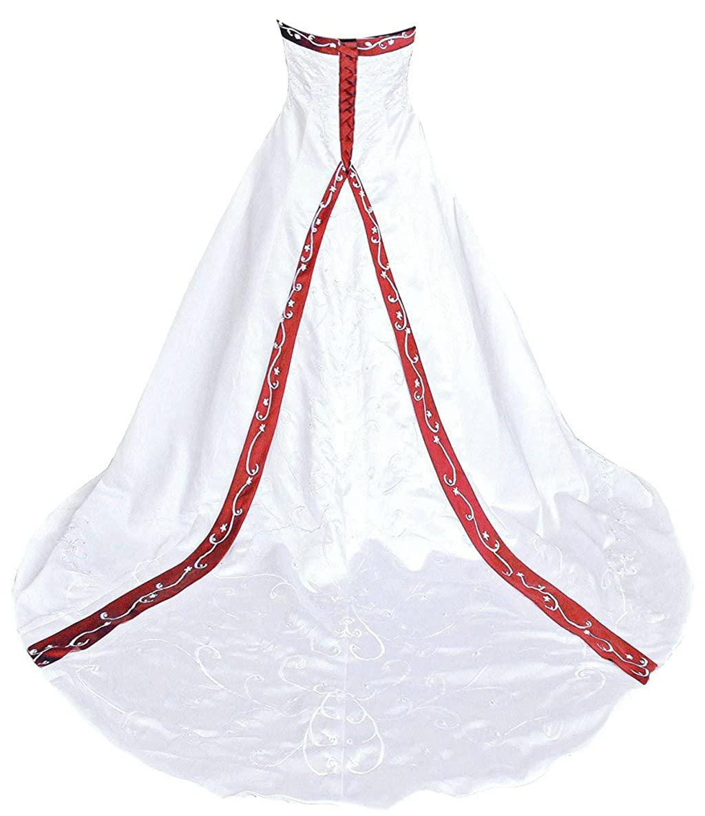 White & Red Vantexi Women's Elegant Strapless Embroidery Wedding Dress Bridal Gown