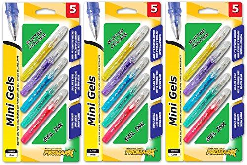 Mini Gel Pens - 5 Count, Assorted Glitter Ink - 3 Pack Set