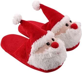 Fenical - Pantuflas de Navidad de felpa, diseño de Papá