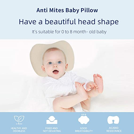 Infant Baby Toddler Anti Allergy Flat  Soft Pillow for Crib Pram Car Seat Stars
