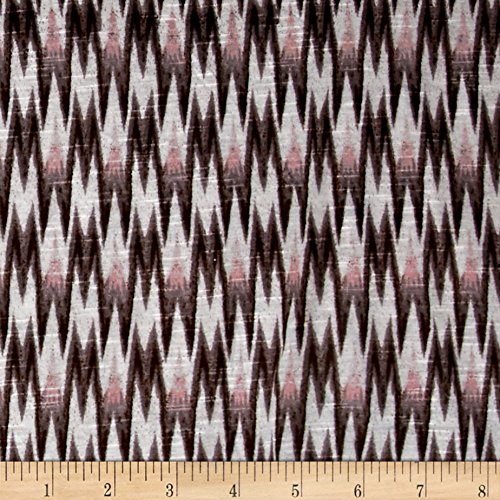 Drape Jersey Slub - Lavitex, Rayon Slub Jersey Knit Chevron Flame Print Brown/Lilac Fabric by the Yard
