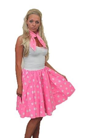 """ae1d886178e1 22"""" Pink Rock N Roll White Polkot Skirt & Scarf Set 1950s 1960s Womens  Fancy"""