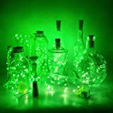 10 Pack Wine Bottle Lights with Cork Christmas Lights Battery Operated Green Cork Fairy Lights Waterproof 3.3ft Silver Wire S