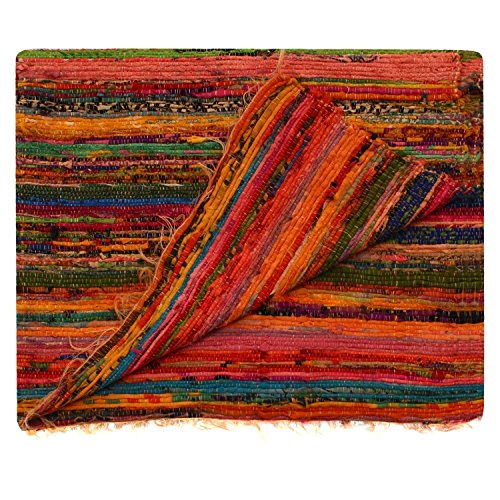 Aakriti Gallery Fair Trade Handmade Rag Rug Chindi Rug Multi Colored Indian Mat Recycled Rug Boho Decorative Rug(5ftx3ft) (Orange)
