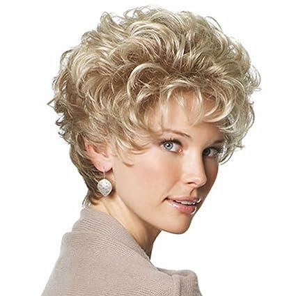 Blonde Marilyn Monroe - Peluca de pelo corto rizado para mujer, estilo retro, color