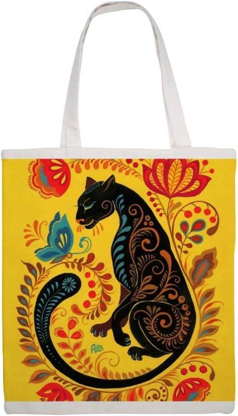 Bolsa de lona de algodón, diseño de pantera y mariposa: Amazon.es: Hogar