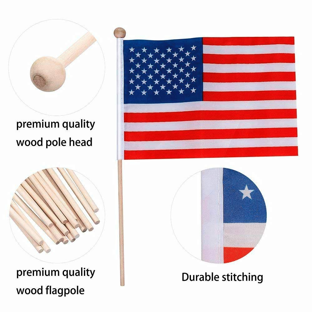 Ubitree American Flag,Small American Flag 60 Pack Hand Held Wood Stick with Round Top,Party Decorations Supplies for Parades,VeteransDay,World Cup, 4Th of July, Sport Events,Celebration