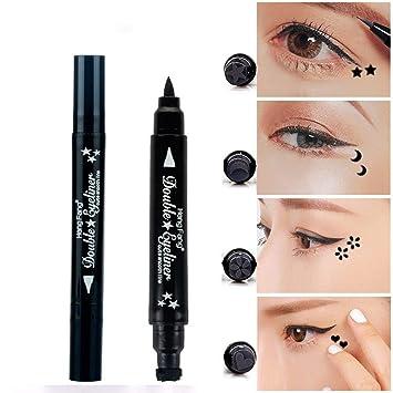 Brand Waterproof Black Eyeliner Pen With Moon Heart Star Stamp Eyes Makeup Liquid Eye Liner Pencil Seal Long-lasting Cosmetics Back To Search Resultsbeauty & Health