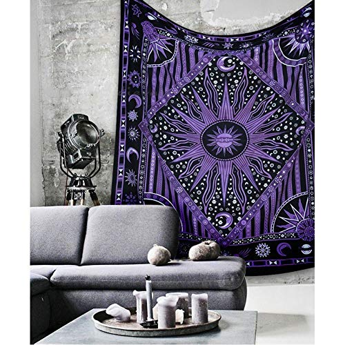 (Psychedelic Celestial Sun Moon tapestry Planet Bohemian Tapestry/ Wall Hanging Dorm Decor Boho Tapestry /Hippie Hippy Tapestry Beach Coverlet Curtain (Twin (54 X 84 inches approx, Purple))