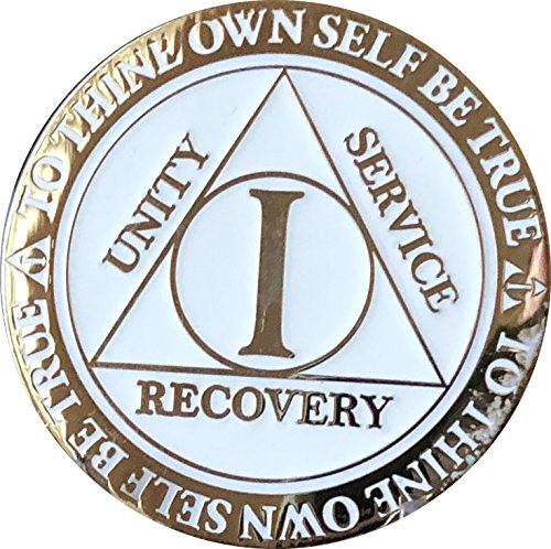 RecoveryChip 1 Year AA Medallion Reflex White Glow In The Dark Gold Plated -