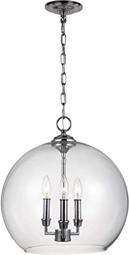 Feiss F3155 3CH Lawler Glass Multi Light Pendant Ceiling Lighting, 3-Light 180 Watts 16 Dia x 17 H , Chrome
