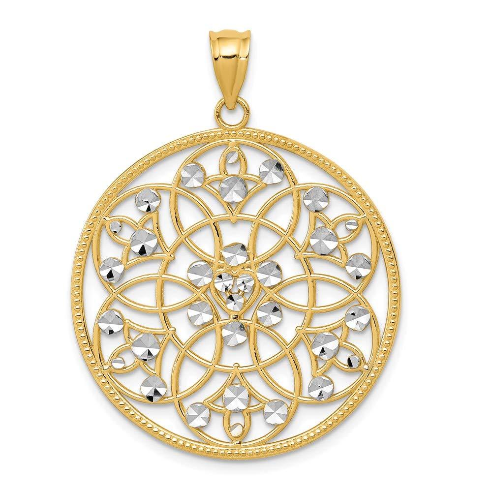 Mia Diamonds 14k Solid Yellow Gold and Rhodium-Plating and Rhodium Diamond-Cut Circle Pendant 36mm x 27mm