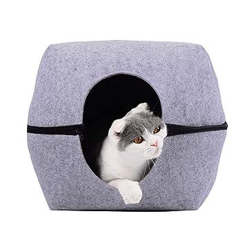 QNMM 2-en-1 Cat Cave Bed Pets Sueño Profundo Impermeable Casa cálida Sofá