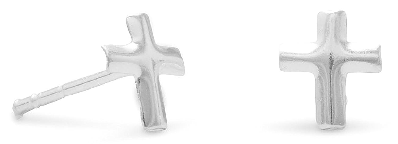 Cross 1//4 inch Sterling Silver Post Stud Earrings