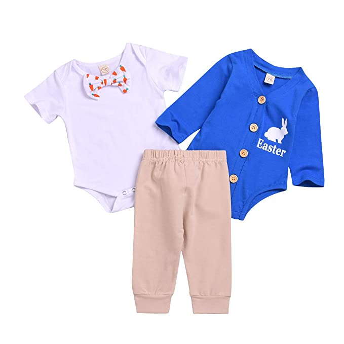 efa9b7e3c 3PCS Baby Boy Easter Outfits Infant Newborn Romper Pants Set Lovely Rabbits  Clothes (Easter Clothing