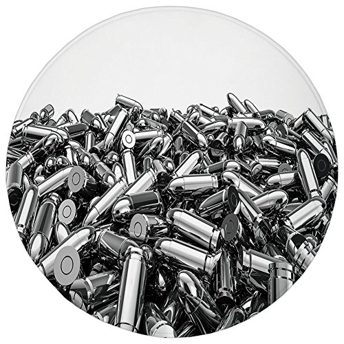 Round Rug Mat Carpet,Silver,Pile of Nine Millimeter Silver Bullets in 3D Style Ammunition Handgun Firearm Theme,Grey White,Flannel Microfiber Non-slip Soft Absorbent,for Kitchen Floor Bathroom - Carpet Silver Pile