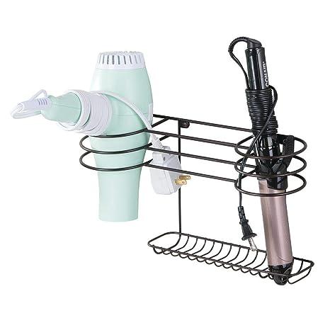 mDesign Soporte para secador de pelo para colgar en la pared – Ideal para artículos de