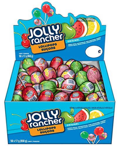 Jolly Rancher Assorted Candy Lolipops, 850 Gram Box (50 lollipops)
