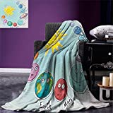 smallbeefly Space Weave Pattern Extra Long Blanket Cute Cartoon Sun and Planets of Solar System Fun Celestial Chart Baby Kids Nursery Theme Custom Design Cozy Flannel Blanket Multi