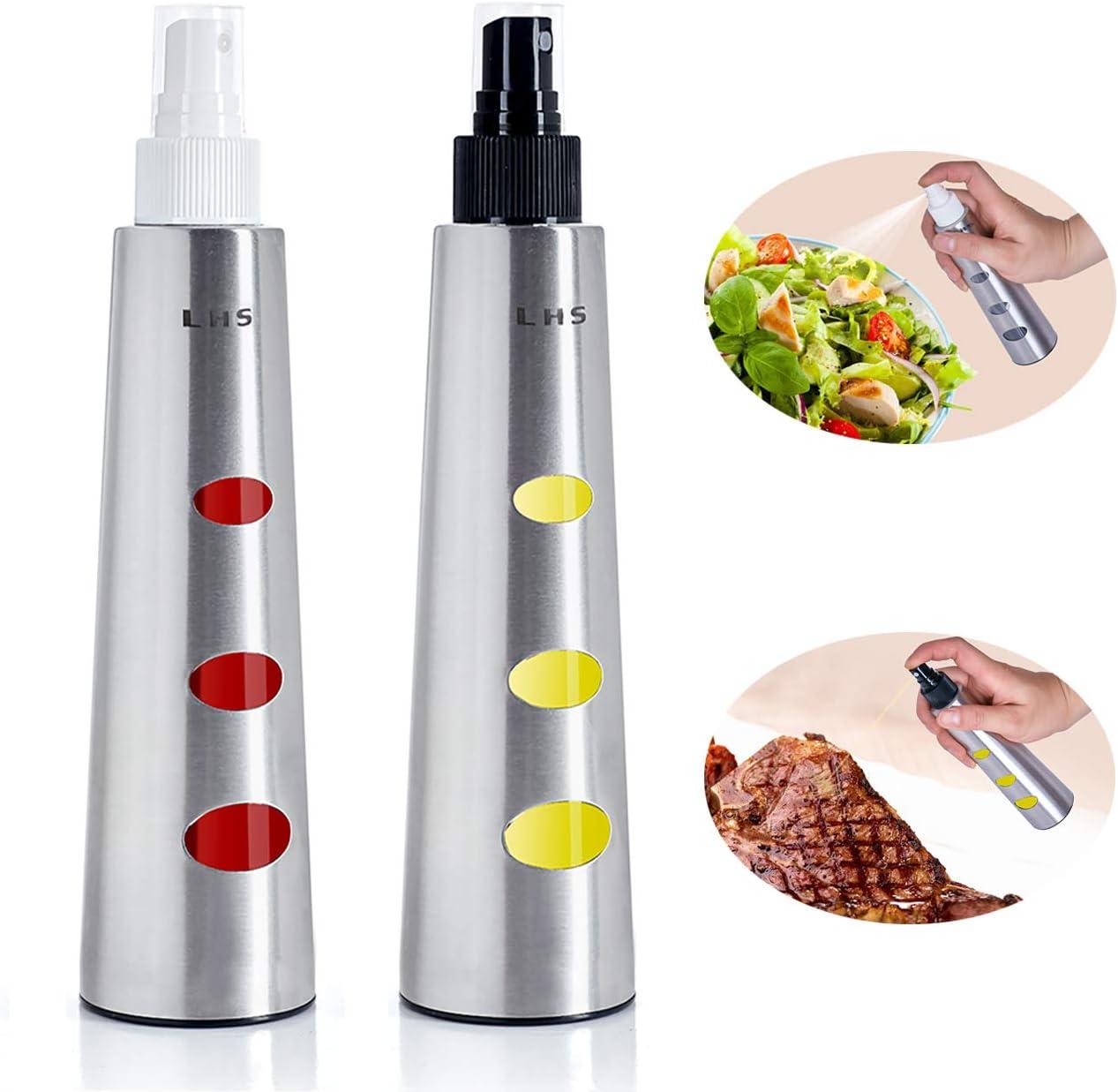 LHS Olive Oil Sprayer Mister Dispenser Stainless Steel Bottle 200 ml Set of 2 Perfect for BBQ Grilling and Roasting Cooking Wine Vinegar Sprayer