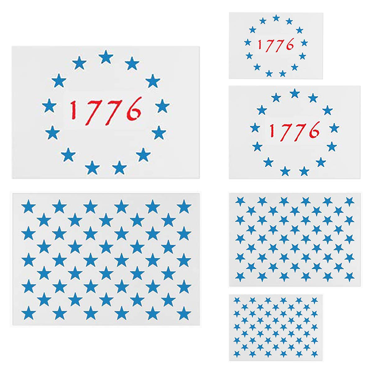 American Flag Star Stencil Templates - 6 Pack 50 Stars 1776 13 Stars Flag Stencils for Painting on Wood and Walls, Reusable Plastic Stencils in 3 Sizes for Wood Burning & Wall Art by REOLAN