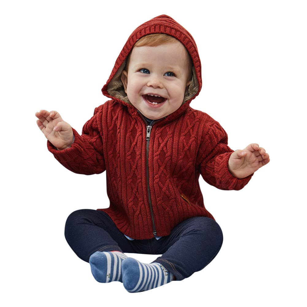 PETIT CLAN Baby Boy Hooded Cardigan Jacket Two Colors Cool Design for Baby Boy Purplish Red by PETIT CLAN