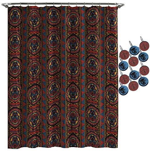 (Jay Franco Marvel Black Panther Tribal Shower Curtain & 12-Piece Hook Set & Easy Use (Official Marvel Product))