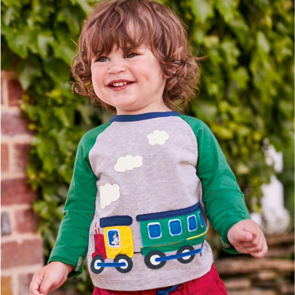 Cartoon Train Print Long Sleeve T-Shirt Blouse Tops Teen Kids Toddler Baby Girls Boys Pullover Spring Summer Clothes