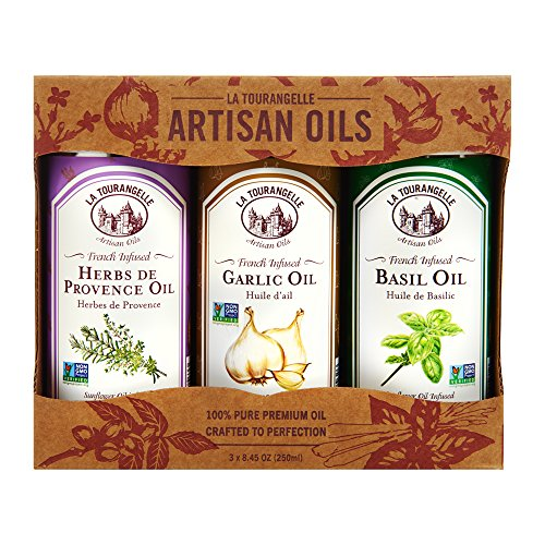 La Tourangelle Infused Trio of Oils - Infused Herbs de Provence Oil, Infused Garlic Oil, Infused Basil Oil Gift Set - 3 x 8.45 Fl. Oz. (Oil Olive Infused)