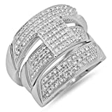 0.65 Carat (ctw) Sterling Silver Round Diamond Men & Womens Micro Pave Engagement Ring Trio Set