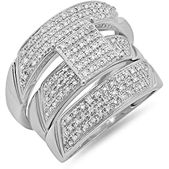 065 Carat Ctw Sterling Silver Round Diamond Men Womens Micro Pave Engagement Ring