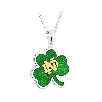 Amazon notre dame necklace sterling silver shamrock irish notre dame necklace sterling silver shamrock irish made aloadofball Images