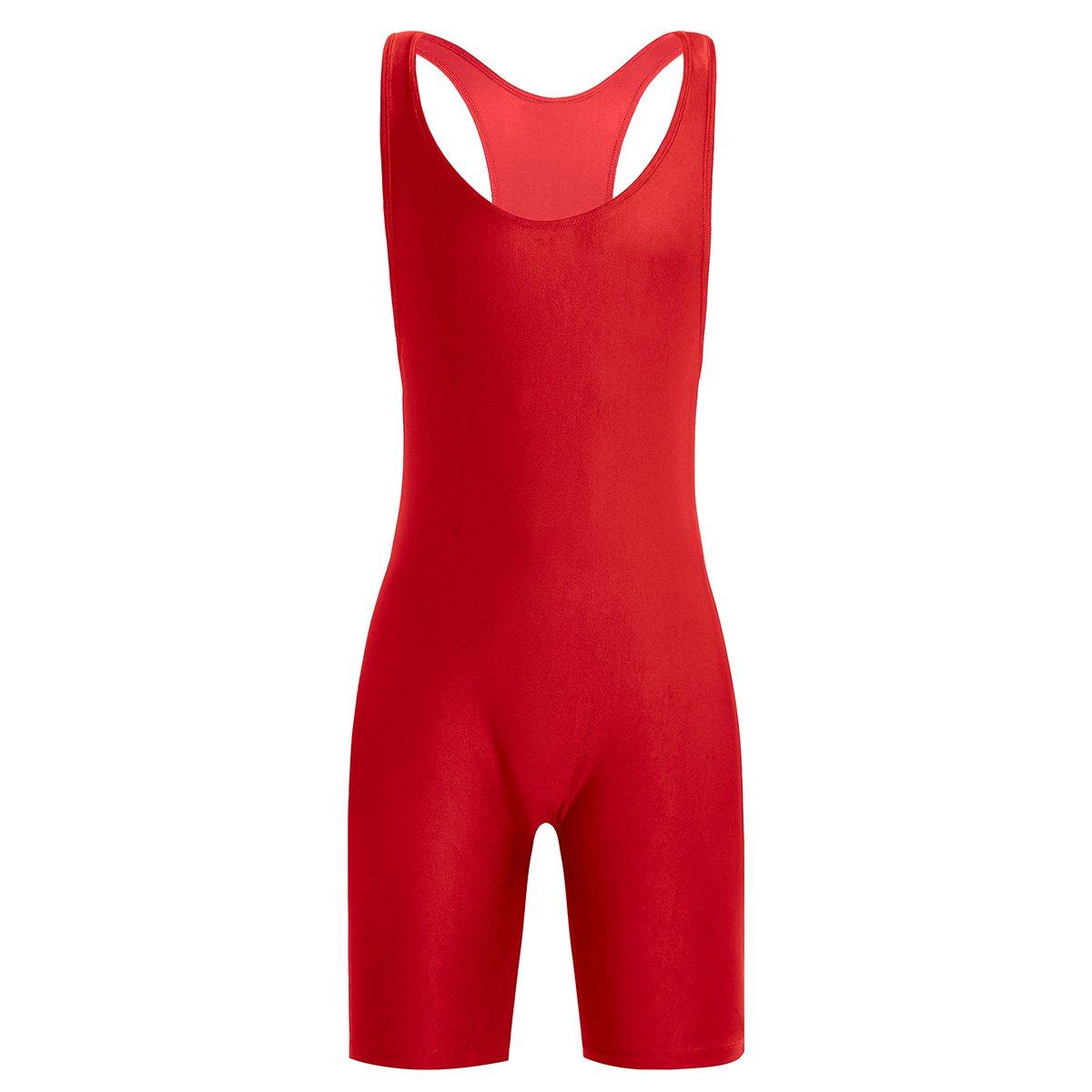 FEESHOW Men's Wrestling Singlet One Piece Sport Bodysuit Leotard Gym Outfit Underwear Red Medium