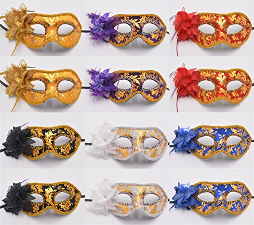 Venetian Masquerade Party Masks - Yiseng 12pcs Set Flower Feather Aside Sexy Woman Mask Fancy Carnival Dance (Chinese Themed Dance Costumes)