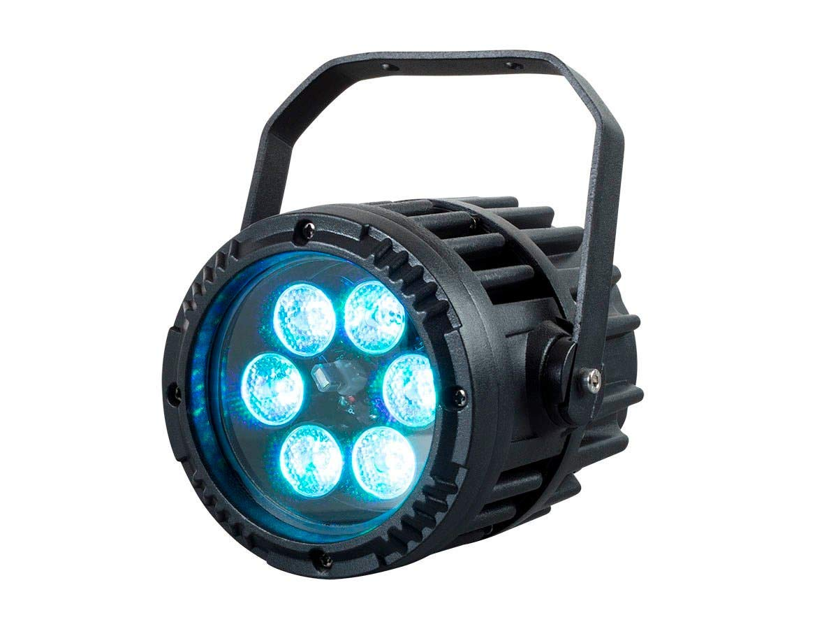 Monoprice Stage Right IR Outdoor Mini PAR 3-Watt RGB 3-in-1 LED Sound Active Party Light | IP65eatherproof Rating | 16 Color Presets and 6 Functions