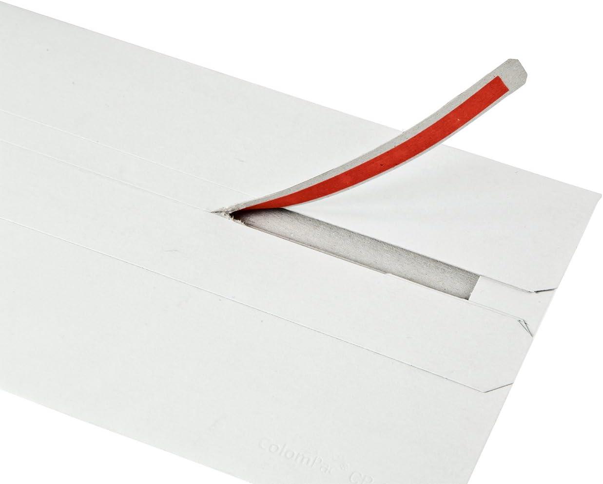 220 x 121 mm wei/ß ColomPac CP040.16 Medienversandverpackung mit Brief aus Vollpappe 20 St/ück mit Selbstklebeverschluss