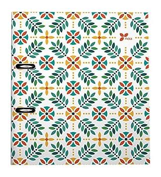 Grafoplas Noa - Archivador con palanca de 65 mm, A4, diseño 16 Flores: Amazon.es: Oficina y papelería