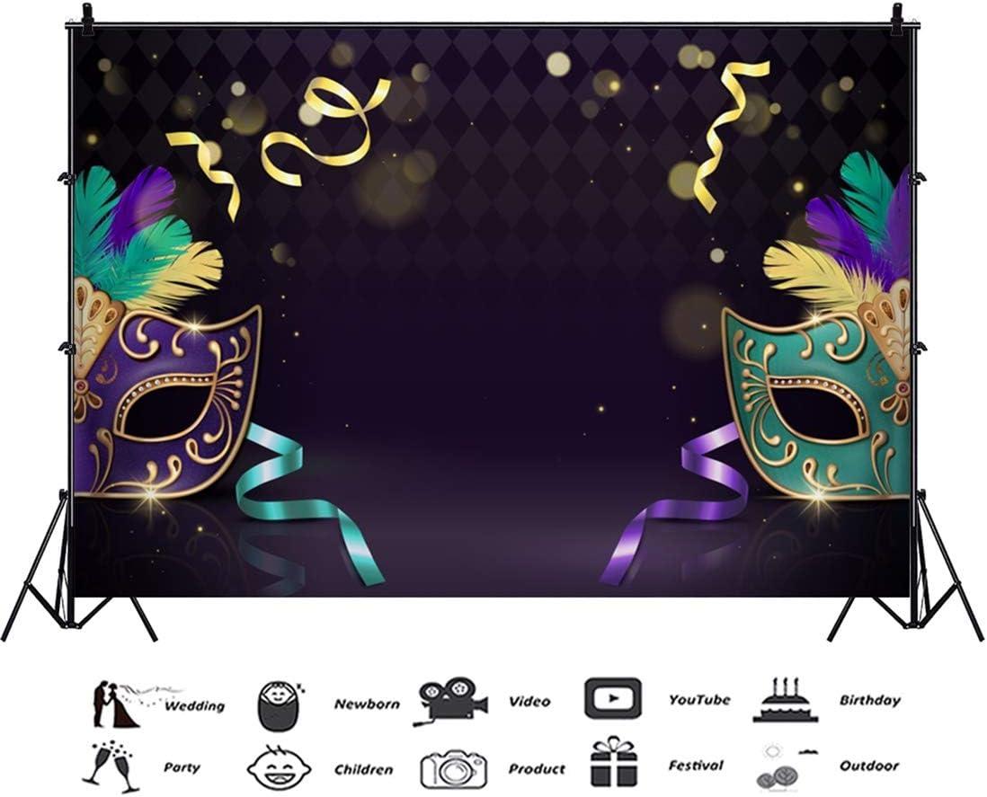 Yeele 10x8ft Venetian Mask Photography Background Glitter Sparkle Spots Masquerade Happy Carnival Colorful Ribbon Girls Room Decoration Photo Portrait Vinyl Studio Video Shooting Photo Backdrop