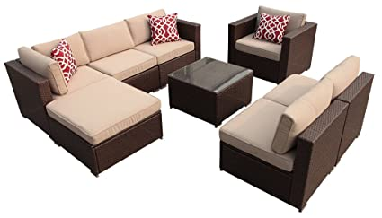 Super Patio Outdoor Patio Furniture Set, 8 Piece All Weather Resistant  Outdoor Conversation Sets,