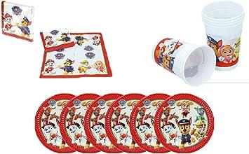 PAW PATROL 0775, Pack Desechables Patrulla Canina,, 16 servilletas, 6 Platos de cartón 20 cms y 6 Vasos de plástico 180 ml: Amazon.es: Juguetes y juegos