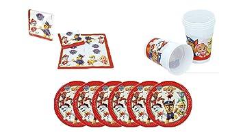 Patrulla Canina 0775, Pack Desechables, Paw Patrol, 16 servilletas, 6 Platos de cartón 20 cms y 6 Vasos de plástico 180 ml