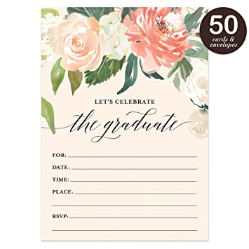 Amazon graduation party invitations with envelopes pack of 50 graduation party invitations with envelopes pack of 50 beautiful fill in floral grad filmwisefo