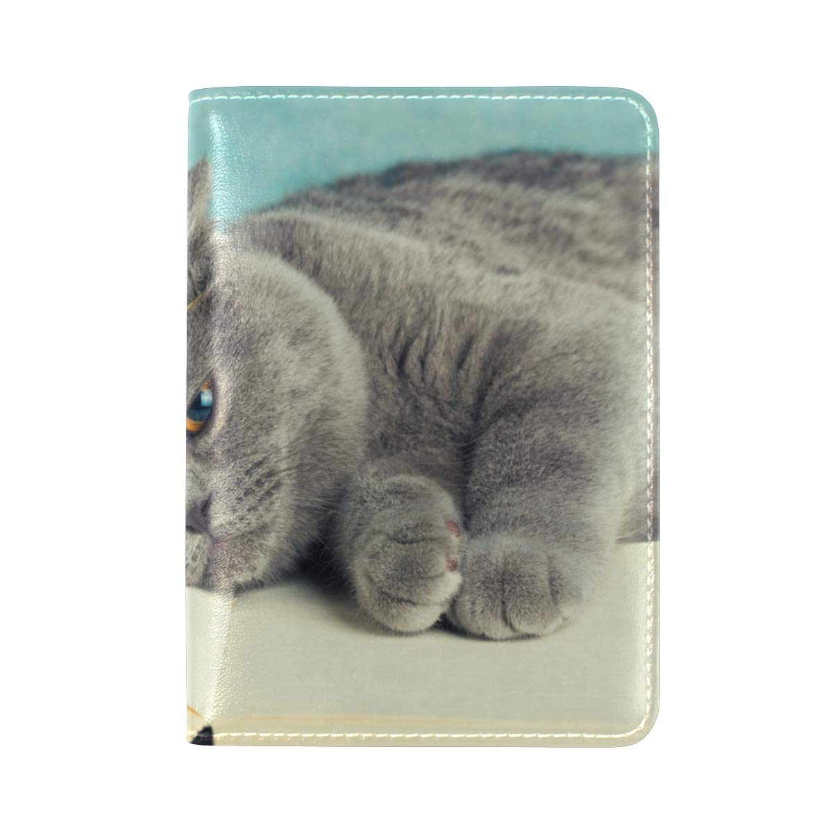 Cute Cat Lying On The Book One Pocket Leather Passport Holder Cover Case Protector for Men Women Travel