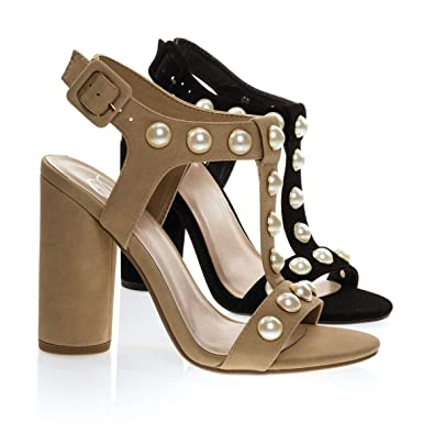 6b8a6dc960e6 Laveda Natural Beige Pearl Encrusted Sandal On Cylinder Chunky Block Heel