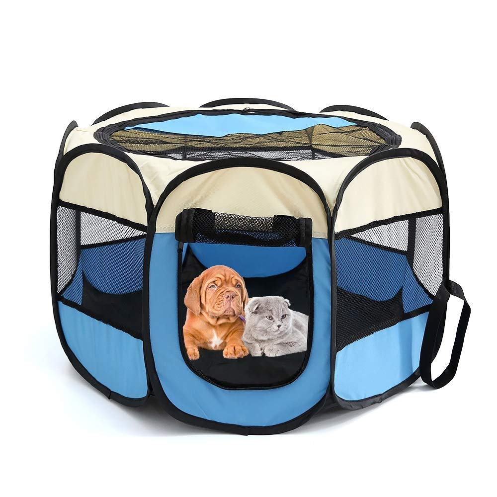 PISSV Portable Collapsible Pet Amusement Park Practice 8 Mesh Cover Indoor /outdoor Kennel Lounge Comfortable Puck Fence Blue
