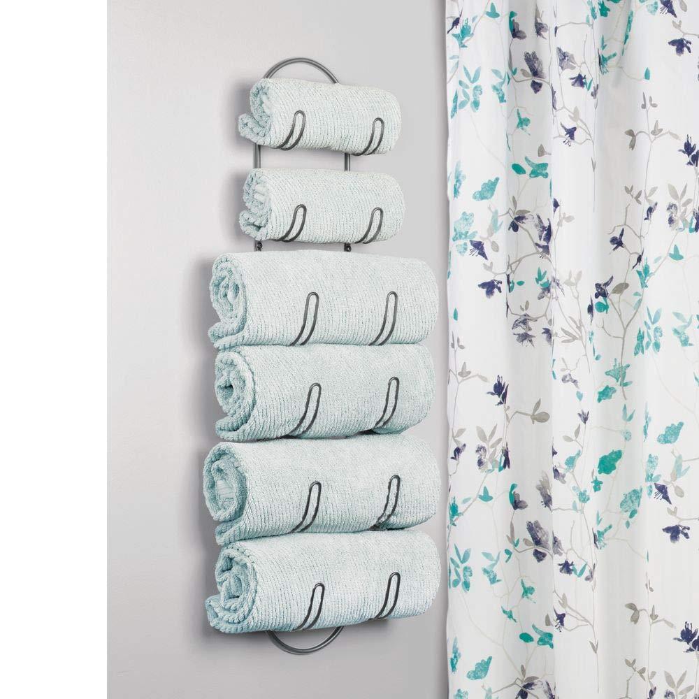 Repisa para toallas ideal para el aseo de invitados blanco mDesign Toalleros de ba/ño para montaje en pared Estantes para toallas de metal Elegante accesorio para el ba/ño