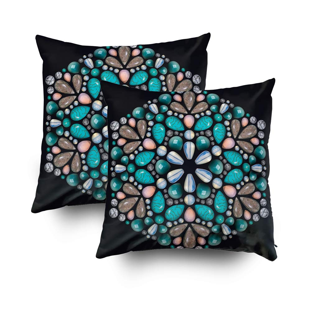 GROOTEY 正方形枕カバー ジッパー付き ホームソファの装飾用 16times;16インチ コストスローカバークッション 美しい装飾的なタイル背景 18X18 Set of 2 クリア 18X18 Set of 2 マルチ4 B07M6K3433