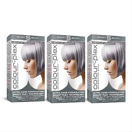 Smart Beauty Tinte de Pelo Permanente, Metálico Pastel Color con Nutritivo Nio-Active Plex Tratamiento Capilar, 150ML Paquete X 3 - Grafito