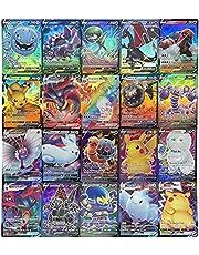 POPQ 100 stycken Pokemon tecknat kortspel samlarkort för barn, inklusive 60 V + 40 Vmax, Battle Collection kort