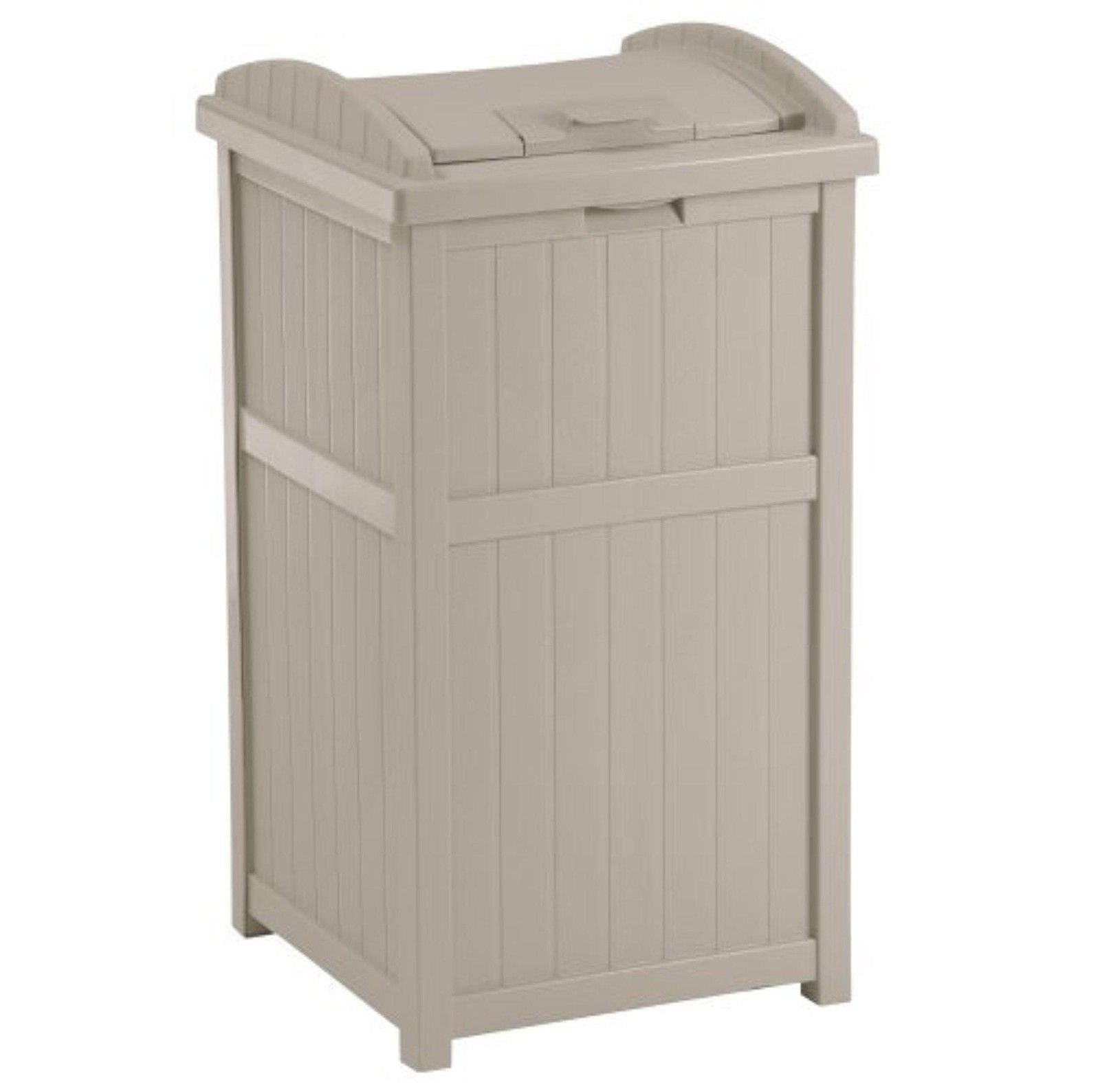 zwan 30-33 Gallon Deck Patio Resin Garbage Trash Can Hideaway, Taupe with Ebook